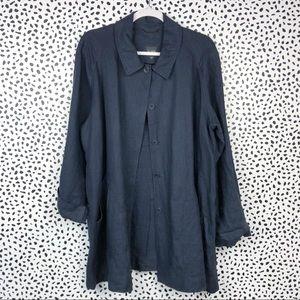 Eileen Fisher Navy Blue Linen Jacket Size XL